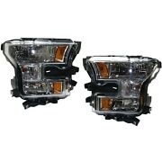 Headlight Set For 2015-2017 Ford F-150 Left And Right With Bulb Capa 2pc