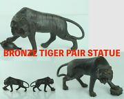 May090 Japanese Antique Bronze Copper Fierce Tiger Pair Statue Figure Metal Ware
