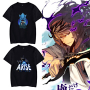 Menand039s Anime T-shirt Solo Leveling Warrior Sung Jin Woo Arise Graphic Tee Shirt