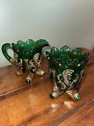 Antique Eapg Inverted Fan And Feather Green Glass Gold Gilt Creamer And Sugar