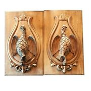 Antique Carved Wood Panels Sporting Theme Game Birds