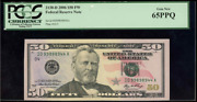 2006 50 Fw Federal Reserve Note 2130-d Pcgs 65 Ppq Gem New Id99898944a G2/3