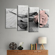 4pcs/set Pink Grey White Love Rose Floral Wall Art Picture Print Home