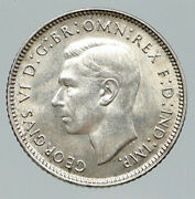 1943s Australia King George Vi Kangaroos Antique Old Silver Sixpence Coin I91958