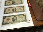 3 Rare 1928 D Red Seal Two Dollar Bill Serial Number Start W/c Near Perfect Spec
