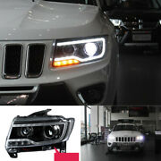 For Jeep Compass 2011-2016 All Led Headlight Drl Hi/lo Beam Lamp Projector 2pcs
