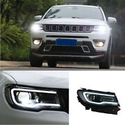 For Jeep Compass 2017-2021 Led Headlight Assembly Drl Hi/lo Beam Projector 2pcs