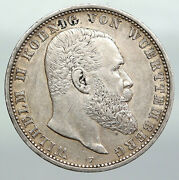 1908f Germany German States Wurttemberg Wilhelm Ii Antique Silver 5m Coin I92264