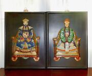 Pair Antique Chinese Ancestor Inlaid Hand Carved Hardstone Wood Panels Plaques