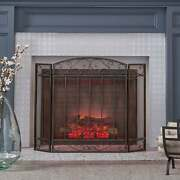 Cheswold Contemporary Three Panel Fireplace Screen By