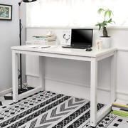 106cm Computer Desk Pc Laptop Writing Study Gaming Workstation Home Office White