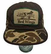 Red Wings Irish Setter Camo Trucker Patch Hat Cap Ear Flap Hunting Usa Vintage
