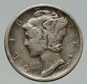 1918 D United States Mercury Winged Liberty Head Dime Silver Coin Fasces I91855