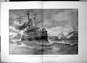 Old Antique Print Departure Italian Naval Squadron From Portsmouth 1895 19th