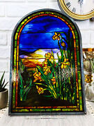 Louis Daffodils Oyster Bay Stained Glass Art Panel Wall Or Desk Plaque