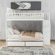 Twin Over Full White Bunk Bed With Two Drawers And Storage Bedroom Dorm For Kids