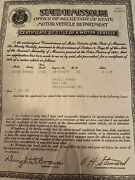 1932 Ford Sedan Certificate Of Title Coupe Truck Hotrod Collectible Rare