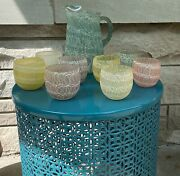 Vintage Color Craft Spaghetti String Roly Poly Set Of 8 Glasses - Pitcher