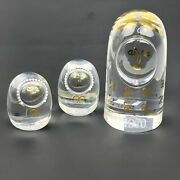 Kosta Boda Art Glass Mom Twins Lars Lisa Vintage 70s Clear Figures Gold Accents