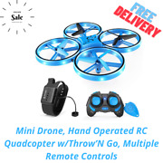 Mini Drone, Hand Operated Rc Quadcopter W/throw'n Go, Multiple Remote Controls
