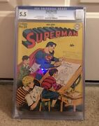 Superman 25 Cgc 5.5 Dc 1943 White Pages Early Action Issue Jla K8 122 1 Cm