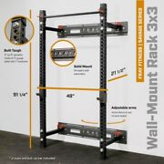 Fray Fitness Commercial Grade 21.5 Fold Back Wall Mounted Power Rack Home Gym
