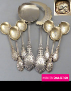 Soufflot Antique 1880s French Sterling Silver And Vermeil Ice Cream Spoon Set 8pc