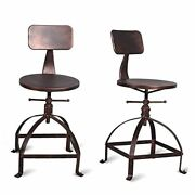 Set Of 2-industrial Swivel Bar Stools With Back-vintage Counter Height Copper