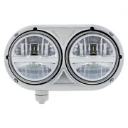 Stainless Dual Silver Headlight With 8 High Power Led Bulb For Pete 359 - Driver