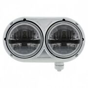 Stainless Dual Black Headlight With 8 High Power Led Bulb Pete 359 - Passenger