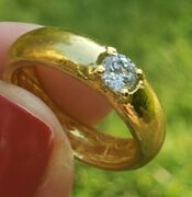 Beautiful Antique 22k Yellow Gold And Diamond Band Ring.