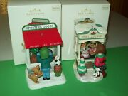 Hallmark Lot Christmas Window Sporting Goods And Bakery Shop 2010-11 Ornaments