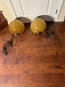 Pair Vtg Amber Glass Hanging Swag Lamps Mid Century Retro Ceiling Fixture Chain