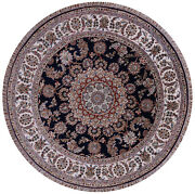 6and039 Round Hand Knotted Nain Wool And Silk Rug - Q9363