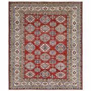 8and0392x9and0398 Red Hand Knotted Super Kazak With Tribal Design Pure Wool Rug R61154