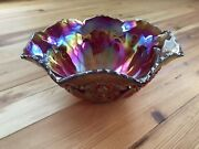 Le Smith Ruby Hobstar Carnival Glass Iridescent