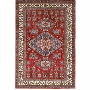 6and039x8and0398 Wool Red Super Kazak With Geometric Design Hand Knotted Rug R61161