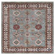 7and0398x7and0398 Wool Hand Knotted Gray Super Kazak With Medallions Square Rug R61170