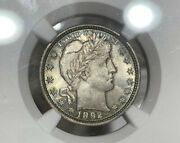 1892 Ngc Ms64 Barber Silver Quarter 25c Great Detail