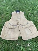 Vintage Filson Style 31 Fishing Hunting Shooting Waxed Tin Cloth Vest Large