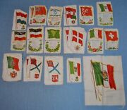 Cigarette Premiums Silk National Flags W/ Songs - Lot Of 20