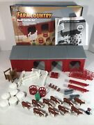 Ertl Farm Country Beef Cattle Set Shed Calve Cows Barn Shed Hay Missing 2 Pieces