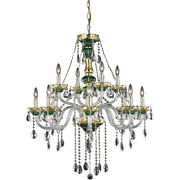 Asfour Crystal Chandelier Green And Gold Dining Living Room Fixture 12 Light 38