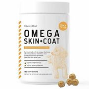 Chew + Heal Salmon Oil For Dogs - 180 Soft Chew Omega Treats For Skin And Coat -
