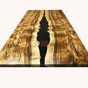 Epoxy Resin River Table, Natural Wood Dining Walnut Table Top Outdoor Furniture