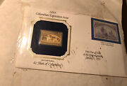2 22k Gold Replica Of 24 Cent Inverted Jenny Stamp4 Cent A Fleet Of Columbus