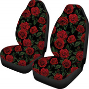 Coloranimal Red Rose Flower Front Seat Covers 2 Pcvehicle Seat Protector Car