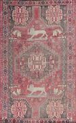 Antique Animal Design Tribal Abadeh Hand-knotted Area Rug Classic Oriental 5'x8'