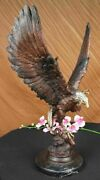 Genuine Signed Jules Moigniez France Bronze Eagle Strength And Honor Sculpture
