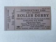 1939 Roller Derby Introductory  Pass Civic Oakland Ice Rink